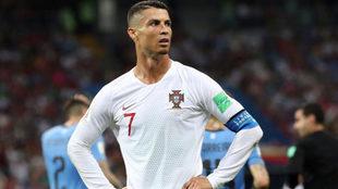 Cristiano Ronaldo tras consumarse la eliminación frente a Uruguay.