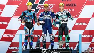 Aron Canet, a la izquierda justo al lado del ganador Jorge Martín