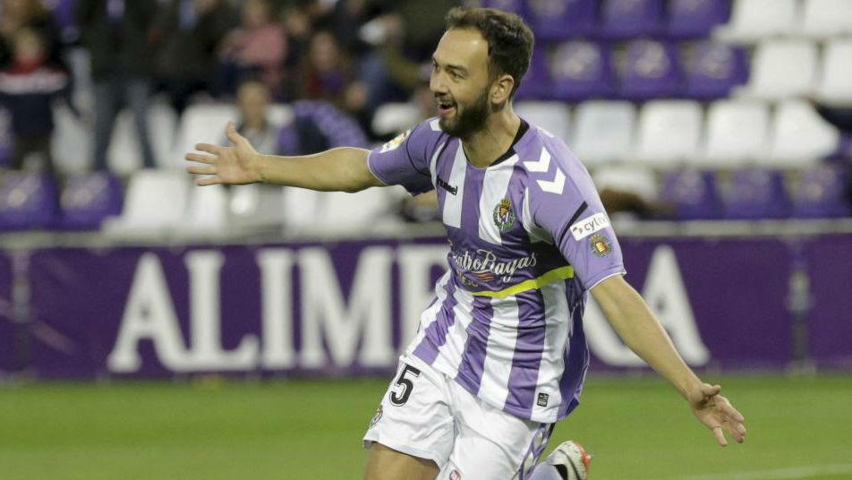 Deivid celebra un gol con el Valladolid.