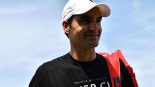Federer, en un entrenamiento