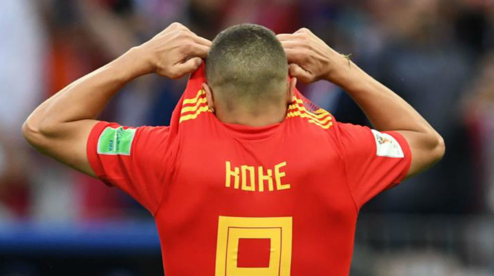 Koke lamentando el penalti fallado ante Rusia.