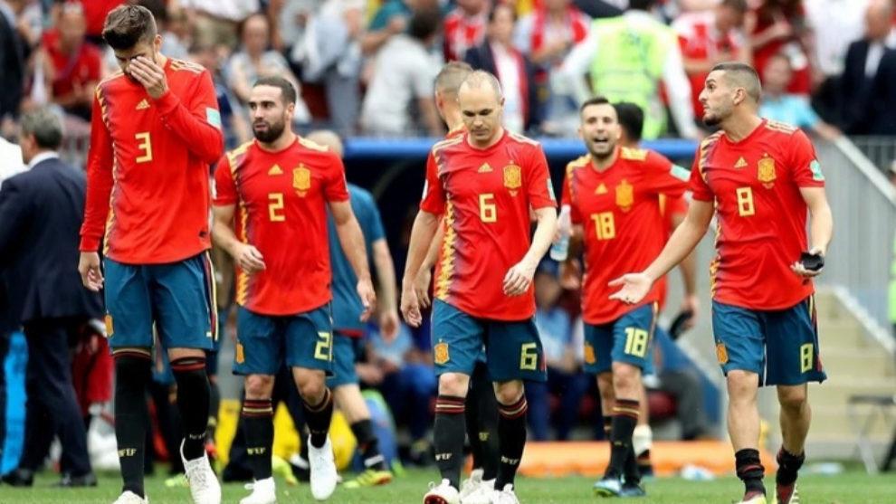 Los jugadores de España durante el encuentro ante Rusia.