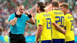 Una imagen de Suecia en el partido ante México.