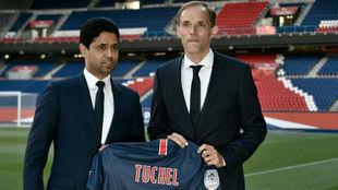Nasser al Khelaifi y Tuchel, en la presentación del entrenador...
