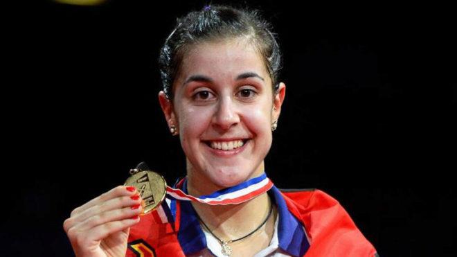 Carolina Marín, con la medalla de oro.