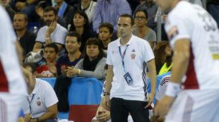 Xavier Sabate, durante un partido entre el Vezpren y el Barça de la...