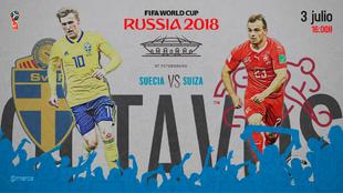 Partido de octavos de final entre Suiza y Suecia el martes 3 de junio...