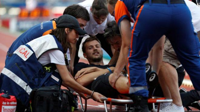Christophe Lemaitre tras lesionarse en París el pasado sábado.