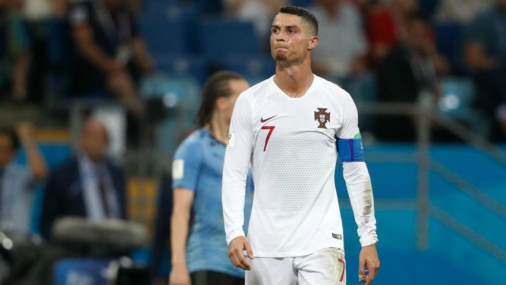 Cristiano Ronaldo reacts during the match between Uruguay and...