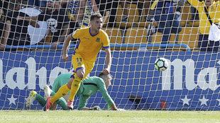 Álvaro Giménez celebra un gol con el Alcorcón.