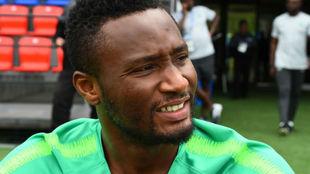 Obi Mikel, durante un entrenamiento con Nigeria.