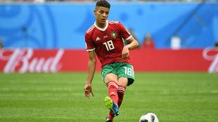 Amine Harit, durante el partido entre Marruecos e Irán de la fase de...