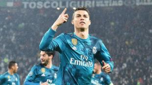 Cristiano celebra el primer gol que marcó a la Juventus esta...