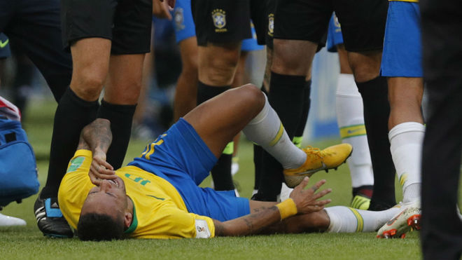 Neymar reacts during thematch between Brazil and Mexico.