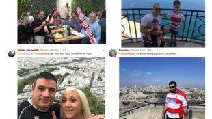 Aficionados del Granada en la campaña de Twitter de #YoSoyNazarí