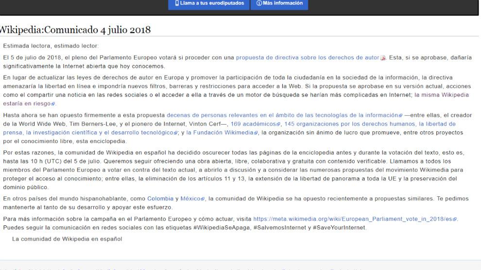 Comunicado de protesta de Wikipedia