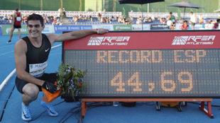 Bruno Hortelano tras batir el récord de España de 400 metros.