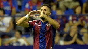 Morales celebra un gol de la temporada pasada en el Ciutat de...