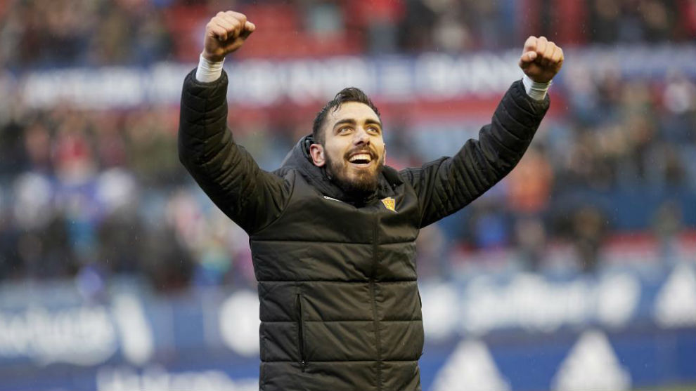 Borja Iglesias celebra una victoria con el Zaragoza