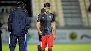 Undabarrena, en un partido del filial del Athletic en Miranda