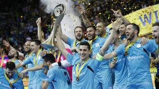 Los jugadores del Movistar Inter, tras ganar la última UEFA Futsal...