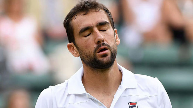 Marin Cilic reacts against Argentina's Guido Pella.