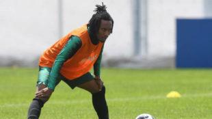 Gelson Martins, durante un entrenamiento con Portugal en el Mundial.