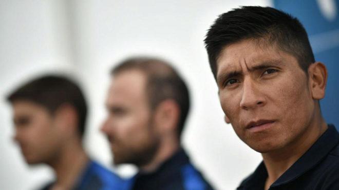 Nairo Quintana en primer plano en la rueda de prensa de Movistar en