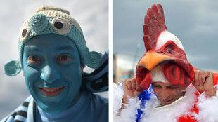 Pitufos contra gallitos en las gradas del Uruguay vs Francia