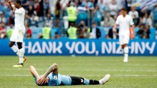 Josema Giménez se derrumba durante el partido ante Francia