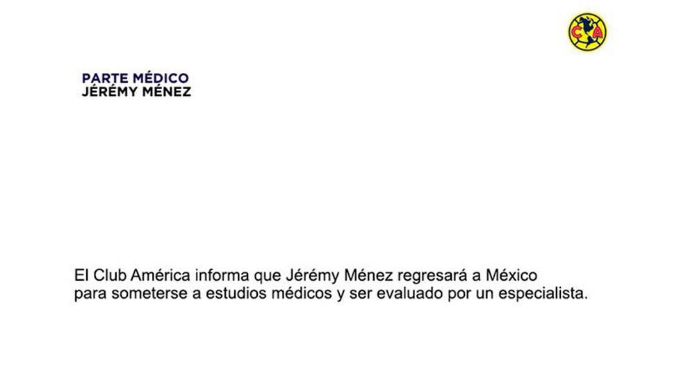 Jérémy Ménez se rompió ligamento; sería baja con América todo el AP18