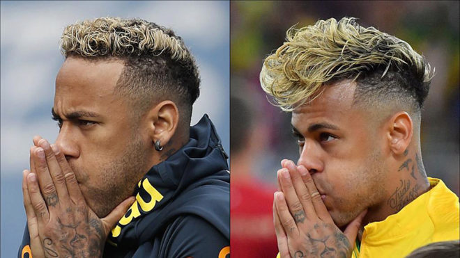This combination of pictures shows the haircuts of Brazil's forward.