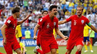 Maguire celebra su gol.