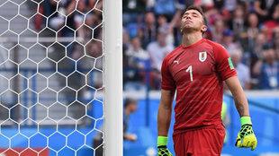 Fernando Muslera lamenta el gol encajado ante Francia.