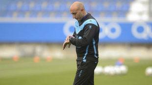 Abelardo, en un entrenamiento.