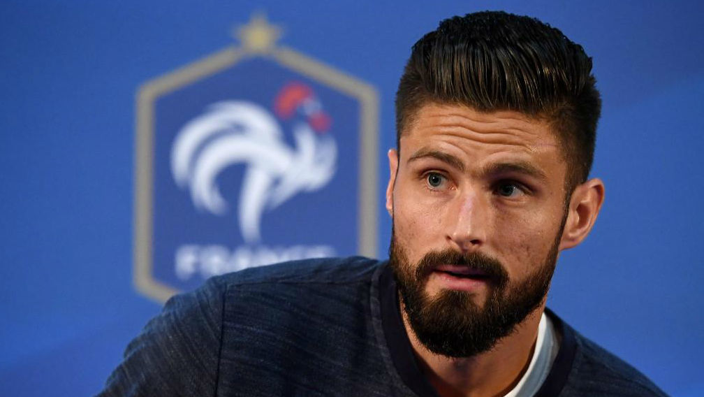 Giroud Reacts As He Arrives For A Press Conference In Istra