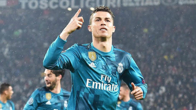 Cristiano celebra un gol a la Juve en Turín