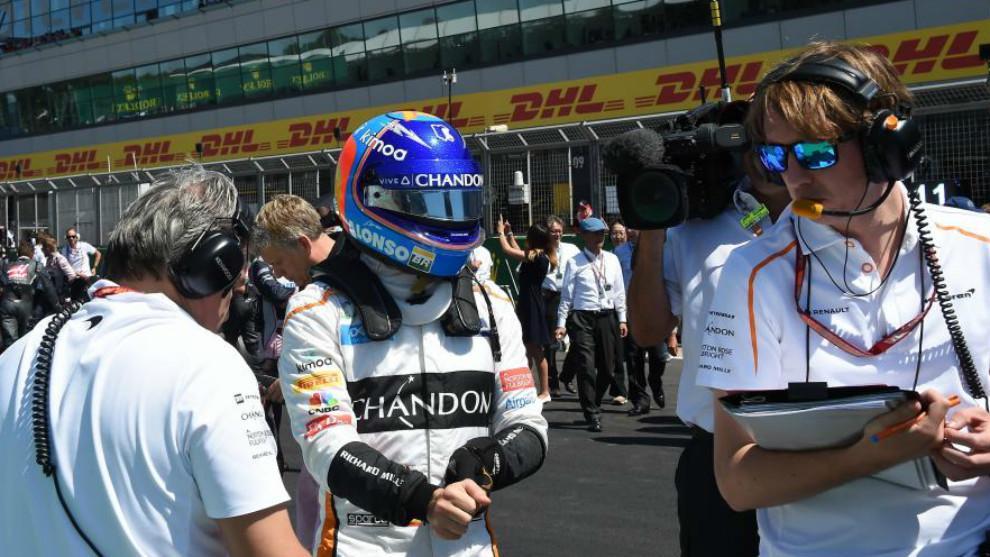 Fernando Alonso en el GP de Gran Bretaña.