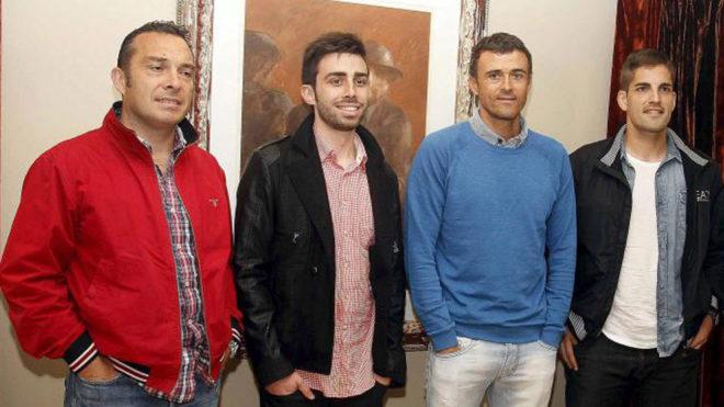 Joaquín Valdés, Rafel Pol, Luis Enrique y Robert Moreno, en su etapa...