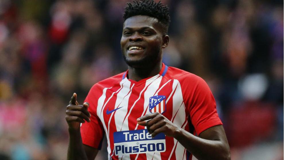 Thomas celebra un gol conseguido en el Wanda Metropolitano.