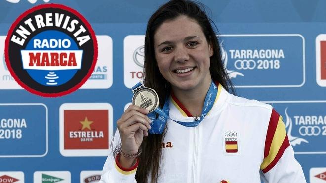 Catalina Corró al lograr la medalla de oro en 400 estilos.