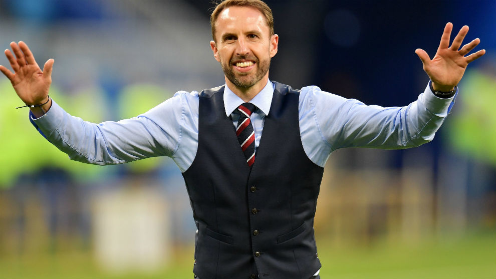 Southgate acknowledges the applause of the fans after the  match...