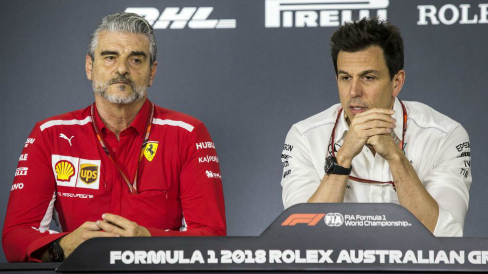 Maurizio Arrivabene y Toto Wolff.
