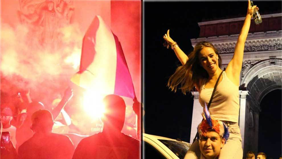 La afición francesa tomó los Campos Elíseos de París para celebrar...