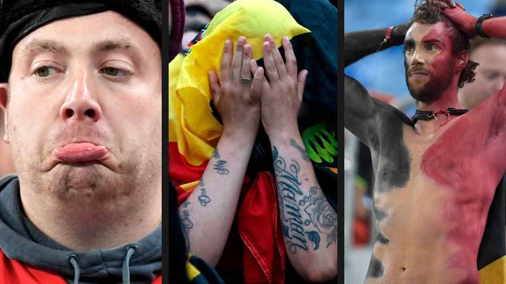 Las aficiones de Bélgica y Francia rivalizaron en colorido y...