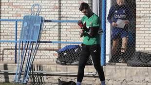Álvaro Ratón, en un entrenamiento con el Zaragoza.