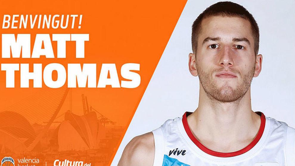 Anuncio oficial del Valencia dando la bienvenida a Matt Thomas