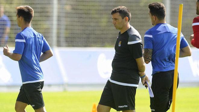 Garitano, en un entrenamiento de la Real Sociedad.
