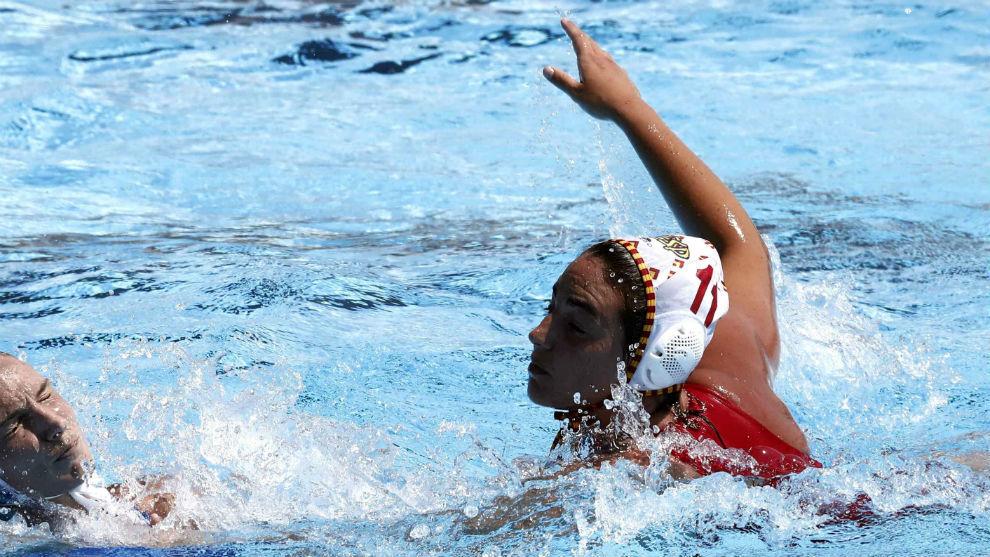 Maica García durante un partido en los Juegos del Mediterráneo 2018.