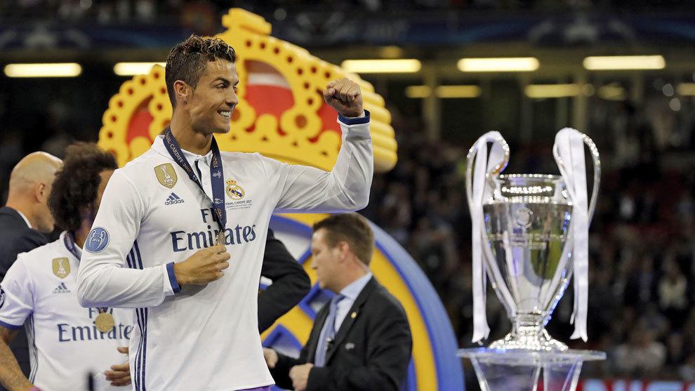 Cristiano Ronaldo en una de las Champions logradas por el Real Madrid.